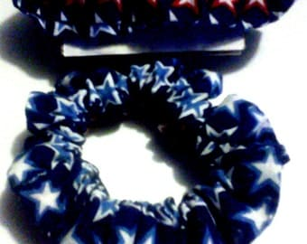 Hand-Made  Red White And Blue Star Stripes Scrunchie