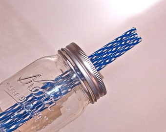 Straws - BPA Free Striped Reusable Straws - Extra or Replacement Straws For Mason Jar Commuter Lids - Blue and Clear  50 Pieces  DISCOUNT