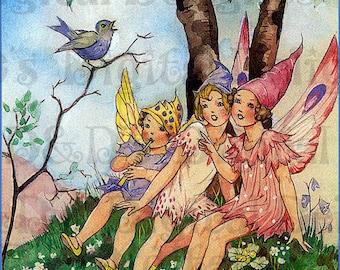 Three Little FAIRIES Listen To a Birdie Sing. Vintage Fairy Illustration. Fairy DIGITAL Download. Vintage Fairy Digital PRINT