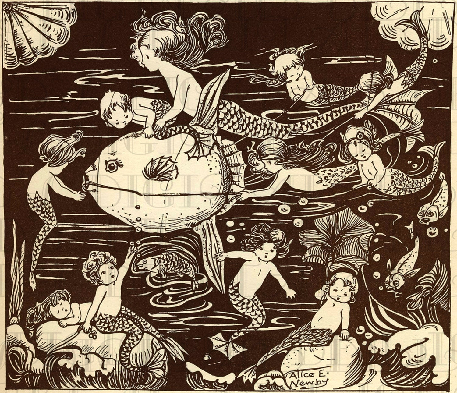 Classic Retro Illustration: MERMAIDS And Mermen. Fairy Tale Vintage DIGITAL Illustration