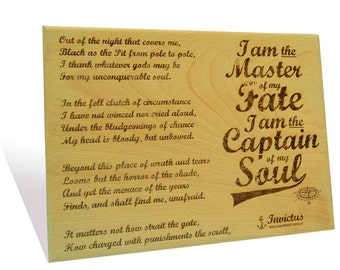 Invictus by William Ernest Henley engraved on a  Wooden Plaque