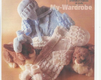 vintage knitting pattern forbaby  stunning  matinee jacket hat  and booties