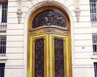 Paris Door Photo, Yellow Gold - Fine Art PhotoTravel Print - Home Decor, French, Luxurious, Neutral, Pop of Color, Yellow, Rich, Black