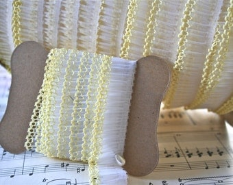 3 Yards Vintage Trim, Pale Yellow Ruffles Ribbon