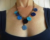 SALE Blue multi colored crochet pendant
