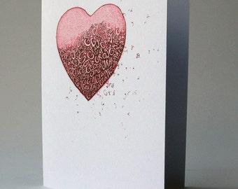 Love Heart card, cárta gaeilge, card in irish, engagement, anniversary card