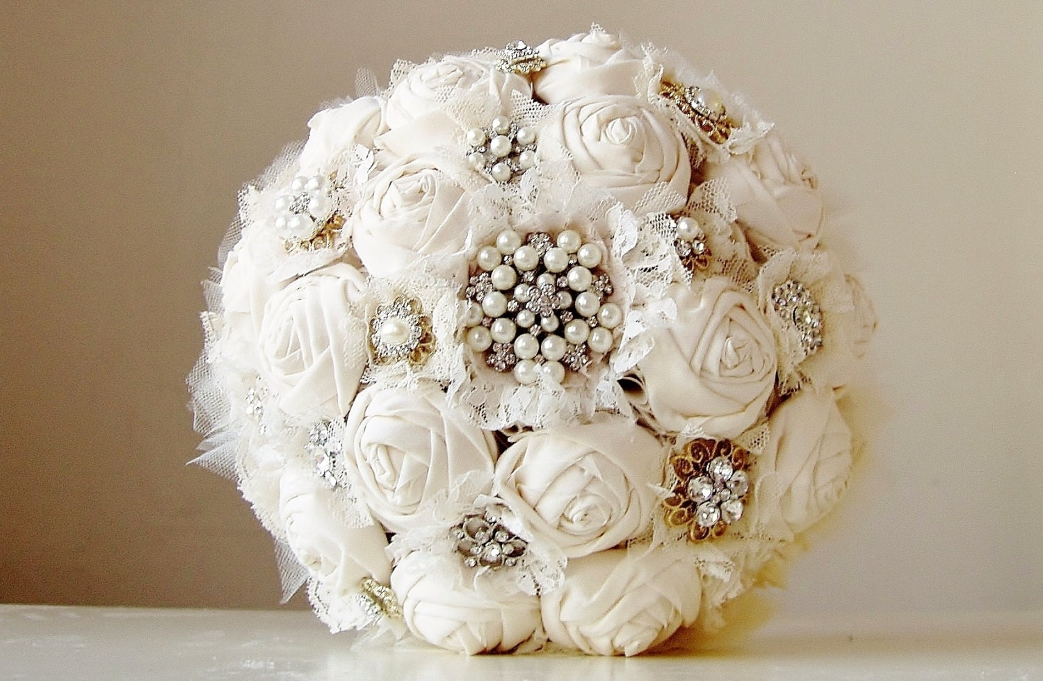 Fabric Flower Bouquet Vintage Style Wedding Bouquet Handmade Fabric Bridal Bouquet Brooch