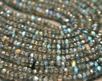 AA blue fire flash Labradorite gemstone rondelles- faceted labradorite rondelles- 6.5 inch- 3.2-3.6 mm No.812