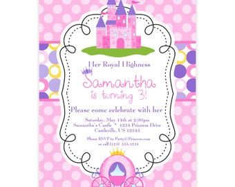 Princess Invitation - Pink and Purple Polka Dots, Royal Princess Castle Personalized Birthday Party Invite - a Digital Printable File
