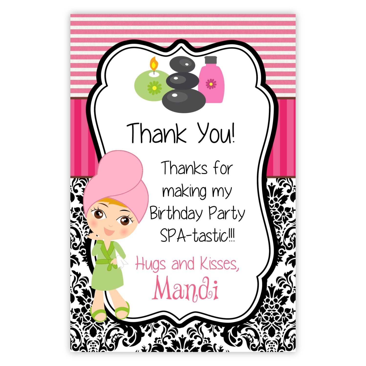Spa Party Thank You Card Pink Stripes Black Damask Cute