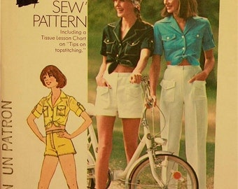 Shirt, Pants & Shorts -1970's - Simplicity Pattern 7333  Uncut   Sizes 8  Bust 31.5""