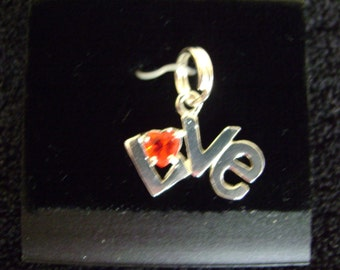 Sterling Silver Love Red Heart Stone Charm