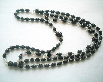 Long Glass Bead Triple Strand Necklace Black & Aurora Borealis 27 Inches