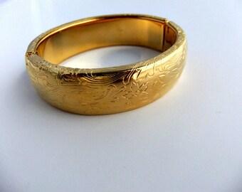 Bangle Bracelet Etched Gold Tone