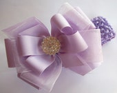 Lavender Boutique Hair Bow With Rhinestone Center And Headband - Fits all ages baby to Women
