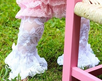 Lace Leg Warmers leggings baby girl Ruffled Tulle Pants Birthday Outfit Vintage pants White