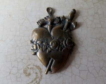 Bronze Sacred Heart Medal/Pendant, Vintage Reproduction ~ Made in USA,  Rosary Parts Supplies, 1 Piece