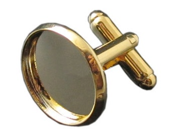 Cuff links with the 18mm inner size bezel setting really 18k gold plated color will not changed within one and half year
