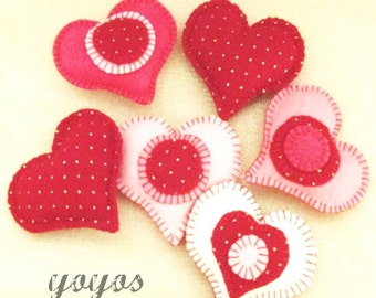 FELTED HEARTS Large Bowl Fillers for VALENTINE Day Seasonal Home Décor Set of Four Hearts