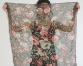 vintage 1980's scarf - sheer mauve and green floral roses