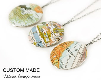 Custom Map Necklace - Silver Locket - Large Vintage Oval Locket - Sterling Silver Chain - Personalized Gift, Gift for Her