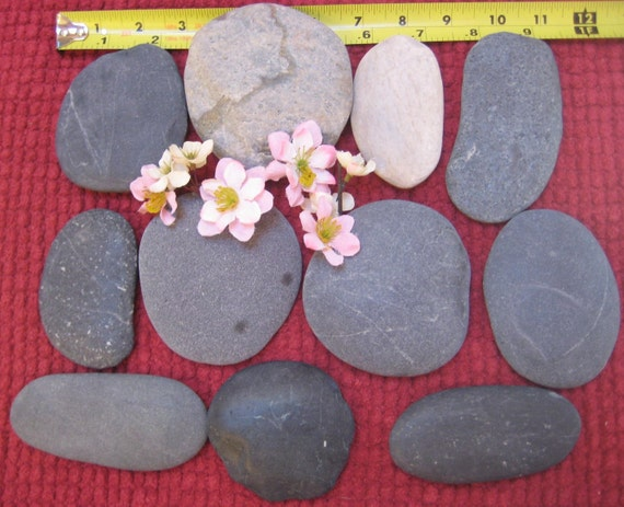 20 off sale25 large beach stones flat oval signing for Flat stones for crafts