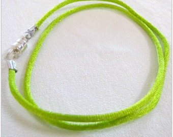 14 to 24 inch Lime Green Satin Necklace Cord, Satin Necklace Cord, Green Necklace Cord, Pen dant  Cord,  Accessories,Magnetic Clasp,  Custom