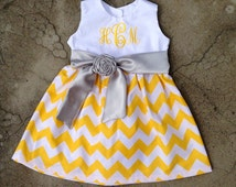 Baby girl outfit fall - Easter dress - yellow chevron dress - monogram baby girl - girl fall dress - monogram baby dress