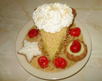 Coconut Cream Pie - Pie Slice Candle on Plate