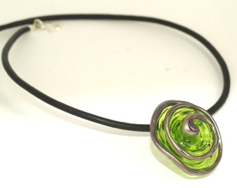 Pearly Lampwork Transfer Green Flower (1) 35mm SRA Black Leather Free Shipping