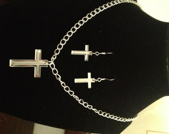 Handcrafted Mirrored Acrylic Cross Necklace & Earring Set