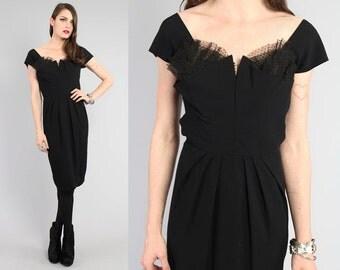 Vtg 50s Black Dorothy O'Hara Bustier Sweetheart Wiggle Midi Dress S