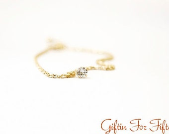 Gold Color Crystal Bracelet Bangle Simple Everyday Modern Bridal Friendship Valentines Bithday Gifts OOAK Gifts by Giftin For Fifteen