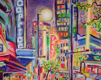 ORIGINAL Acrylic Painting - Granville At The Warehouse - Large 36x48 Colorful Vancouver City art - FREE SHIPPPING