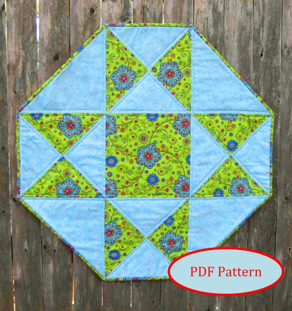 Octagon Table Topper With Star Pdf Quilting Pattern