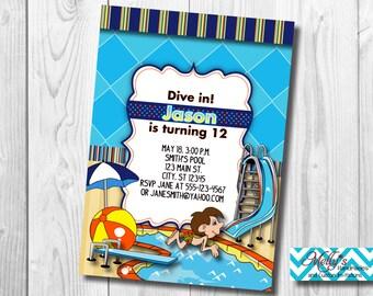 Swimming Birthday Invitation