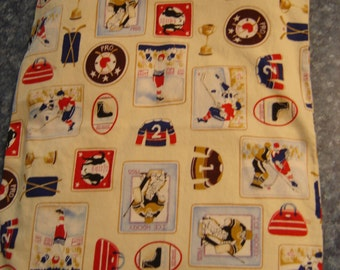 Hockey Patches Print Back Warmer Corn Cozie