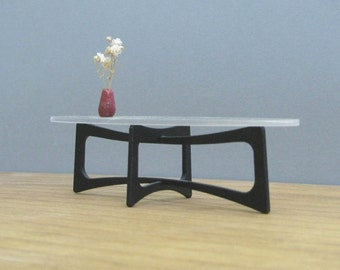 ELLIPTICAL COFFEE TABLE  1:12, Acrylic/Perspex , Collectible Miniature Furniture,Modern Design