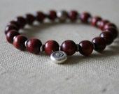 Rosewood silver lotus bracelet // handmade
