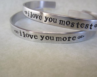 I Love You More   I Love You Mostest  lower case bracelets Sold as a pair