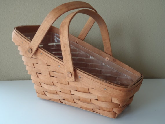 Longaberger Vegetable Basket with Plastic Lining and Handles/ dated 1991/ Vintage House Wares by Feisty Farmers Wife