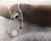 Silver. Plated. Black. Crystal. Amethyst. Pearlized. Bead. Drop. Pendant.