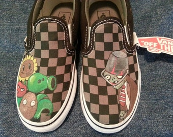 Hand-painted Plants vs. Zombies on Vans shoes