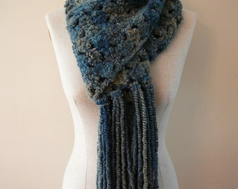 Totally Teal Soft Hand Crocheted Scarf