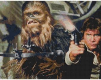 Star Wars Han Solo and Chewbacca cross stitch pattern
