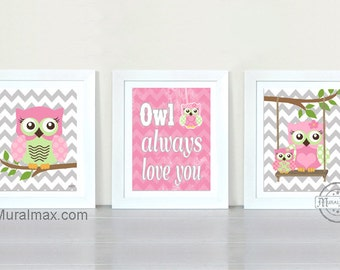 Owl Nursery Decor Owl Print wall art ,Set of three PRINTS, Girls Room Decor Woodland Owl Nursery Art , Owl will Always Love you