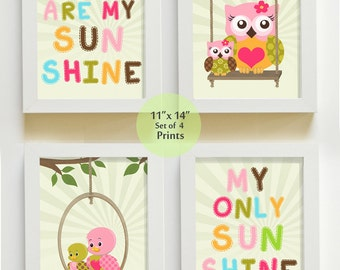 Nursery Art - You are My Sunshine Prints for Nursery or Kids Room, Baby Nursery Decor, set of four prints