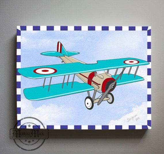 Airplane Wall Decor Nursery : Kids wall art airplane nursery vintage canvas