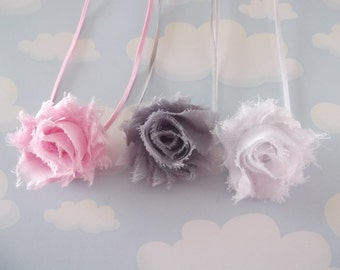 Newborn photography Shabby Chic Petite  Rosetts Set of Three. Newborn Headbands