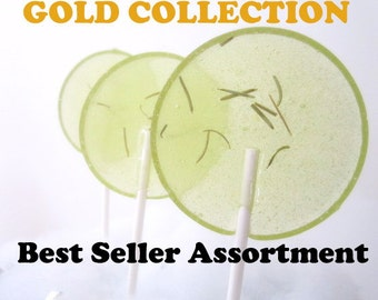 Luxe Lollies Fan Favorites - Gourmet Lollipops - Set of 8 - Gold Collection - Assortment - Gourmet Candy - Party Favors - Sampler